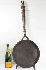 More details for large antique indian ethnic cooking sieve decorative metal & brass wooden handle
