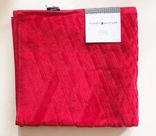 "TOMMY HILFIGER PATTERN BRIGHT RED 100% COTTON VELVETY BATH TOWEL 28""x 54"""