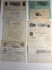 Lot Of 10 Billhead Letterheads 1870-1924 Graphic Illustration Horse Lion Coffee
