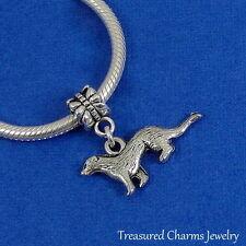 Silver FERRET Weasel Dangle Bead CHARM fits EUROPEAN Bracelet *NEW*