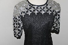 Vtg ART DECO Beaded Sequin SILK Cocktail  Evening Party Dress PS Black Silver