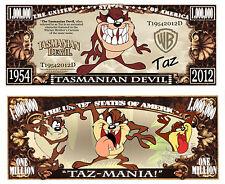 Taz ~ Tasmanian Devil Million Dollar Bill Funny Money Novelty Note + FREE SLEEVE