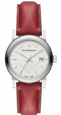 Burberry BU9129 White Silver Dial Red Leather 34mm Women's Watch
