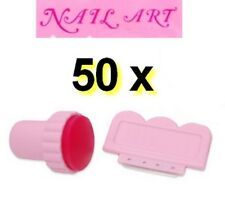LOT DE 50 KITS de stamping TAMPON raclette rose - NAIL ART  ongles déco NEUF