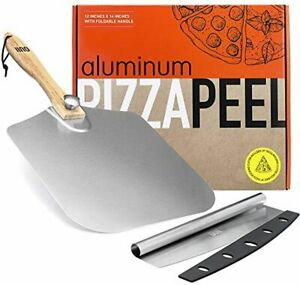 OUII Aluminum Pizza Peel 12''x14'' and Pizza Cutter 14'' Rocker Style Blade