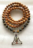 Yoga Wrap Mala Beads Necklace, Tiger Eye 108 Wrap Mala Beads,Brown Wrap Mala