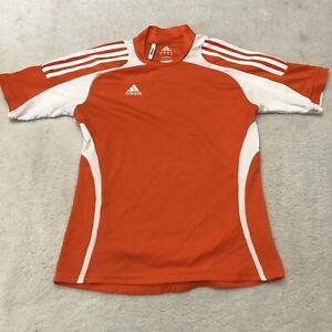 Womens Adidas Shirt Size Small Orange White Soccer Clima365 Polyester Athletic