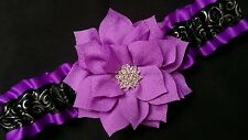 Handmade Purple Black Satin Wedding Prom GARTER Belt Fabric & Rhinestone Flower
