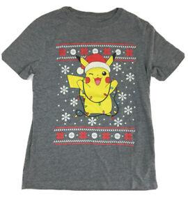 Pokémon Christmas Holiday Shirt, Size 8.  Old Navy, Gray, Lights, T-shirt