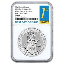 2020 GB 2 oz Silver Queen's Beasts White Lion of Mortimer Coin NGC MS 69 FDOI