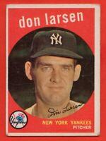 1959 Topps #205 Don Larsen VG-VGEX WRINKLE  New York Yankees FREE SHIPPING
