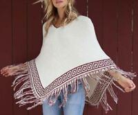 AU STOCK PONCHO SWEATER HOOD CLOAK CAPE JUMPER FRINGE HEM PULLOVER COAT t096