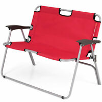 2 Person Camping Folding Chair Portable Outdoor Bench Garden Patio Loveseat Red