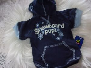 Navy Blue SNOWBOARD PUP Hoodie Shirt Dog new pet S Top Paw puppy Small