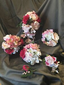 Bouquets: Artificial silk pink and white Wedding bouquet.