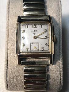 1940s ELGIN DELUXE WATCH 555 Mens Windup 10K  GOLD FILLED Running VTG LOT