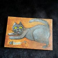 Cat Original Miniature 6 in x 4 in acrylic painting on canvas Gulchik