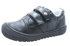 Boys Black Real Leather Lined School Shoes Velcro Trainers Kids Cheap UK Sizes UK 2 Junior EU 35 -22.2cm