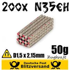 200x Neodym Magnet Zylinder D1,5x2,15 - Whiteboard Geocaching Magneten basteln