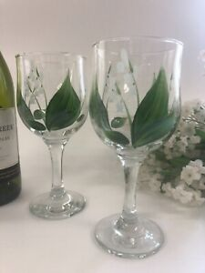 Individually hand painted Lily of the Valley wine glasses