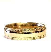 14k yellow gold 6mm wide wedding band ring mens 7.4g milgrain comfort fit
