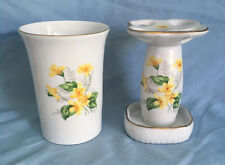 Vintage Ceramic Yellow Floral 4 Toothbrush Holder And Cup