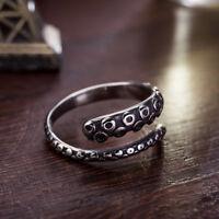 Vintage Men Women Rings Titanium Steel Octopus Adjustable Open Ring Jewelry