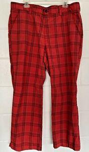 Men's Izod PerformX Straight Leg Golf Pants RED White Black Plaid 38x29 RARE
