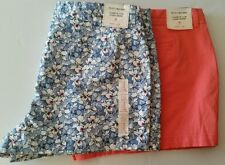 2 New Khakis by Gap Women's 3 Inch Floral/ Peach Solid Print Shorts Sz 18