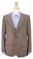 * BRIONI * Vintage 1970's Olive/Tan Checkered Wool 2-Btn Blazer Jacket 38S