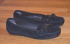 Stuart Weitzman Black Suede Slip-On Loafers Moccasin with Tassels (Sz 7 Narrow)