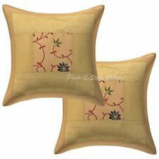 Indian Gold Brocade Cushion Cover Embroidered Pillow Cover Decorative Pillows 16