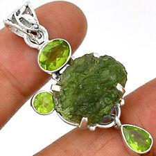 Moldavite & Peridot 925 Sterling Silver Pendant Jewelry PP28882