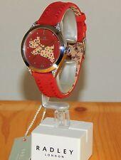 Ladies Radley London Red Leather Scottie Dog Crystal Fashion Watch RY2175