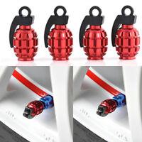 4Pcs red Tire Wheel Rim Stem Air Valve Caps Cover Car Truck Bike Grenade SUV