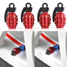 red 4Pcs Tire Wheel Rim Stem Air Valve Caps Cover Car Truck Bike Grenade SUV
