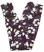 Leggings Women's One Size Purple Floral 2-12 Print Ultra Soft Stretch
