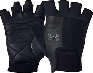 Under Armour Mens Training Gloves Black Fingerless Gym Workout Glove UA