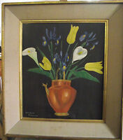 Beautiful LARGE Peter Brown signed and dated 1956, floral oil on canvas