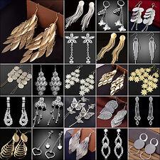 Damen Ohrringe Ohrhänger vergoldet Mode Durchzieher Lange gemusterte Gold Silber