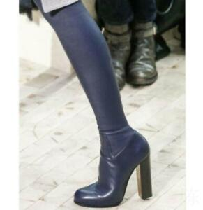 Womens Over Knee Thigh Boots Real Leather Riding Shoes Side Zip Block High Heel