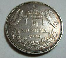 More details for 1900 hungary silver 5 korona king franz joseph i  *