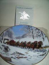 1990 Anheuser Busch Budweiser Collector Plate WINTER'S DAY Clydesdale Horses