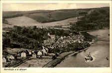 Herstelle Nordrhein Westfalen Ansichtskarte 1955 Gesamtansicht Weser Schiff Wald