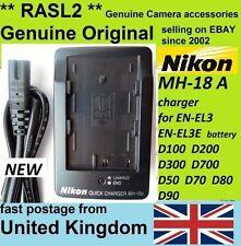 Genuina Original Nikon Mh-18a Cargador En-el3e, D80 D90 D100 D200 D70 D300, D700