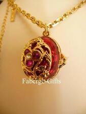 """Easter Egg Necklace Russian Imperial Faberge """"Guardian Angel"""" inside Locket"""
