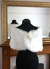 UK WHITE Wedding Prom Faux Fur Wrap Jacket Stole Shawl / Bolero Size 8-14 M MY02