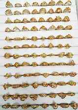 Wholesale lots of 100 pcs assorted Indian 24k Gold Plated Brass Rings 16-19mm