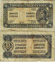 """Jugoslawien Banknote 10 Dinara 1944  """"Partisanen"""" Ausgabe P-50a SEHR SELTEN"""
