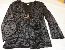 JTB J.T.B. L 3/4 sleeve womens misses shirt top velvet black 3-CVL-5566 NWT